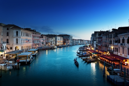 rialto bridge: Grand Canal in sunset time, Venice, Italy Stock Photo