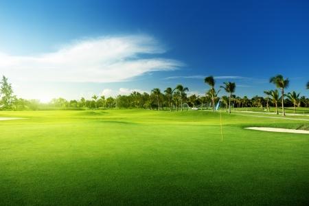 golf drapeau: terrain de golf en R�publique Dominicaine Banque d'images