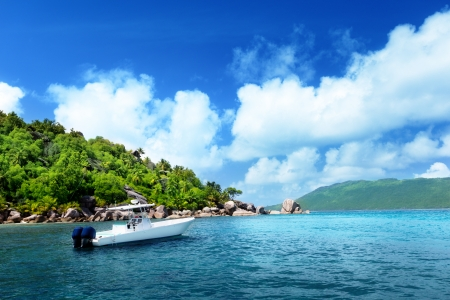 speed boat on the beach of La Digue Island, Seychelles photo