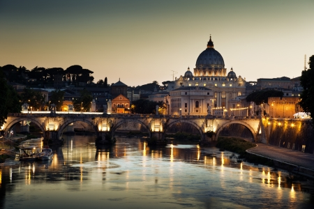 roma: view on Tiber and St Peter Basilica in Vatican