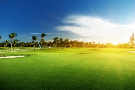 golf green: golf course in Dominican republic Stock Photo