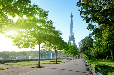 french way: sunny morning and Eiffel Tower, Paris, France  Stock Photo