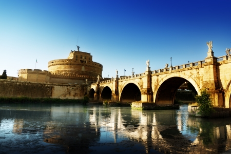 Saint Angel Fortress  and Tiber river in Rome, Italy