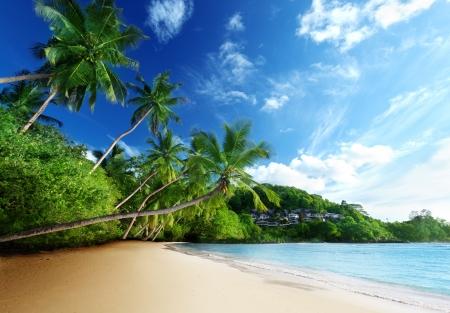 sunrise beach: sunset on beach Anse Takamaka of Mahe island, seychelles Stock Photo