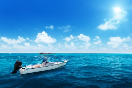 speed boat: speed boat and water of indian ocean Stock Photo