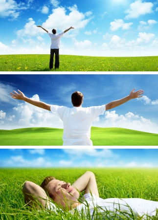 happy man on spring field, set of banners photo