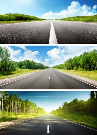 sunny day and road set of banners Stock Photo - 17688541