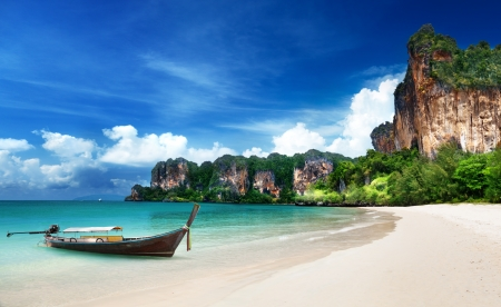blue lagoon: Railay beach in Krabi Thailand Archivio Fotografico
