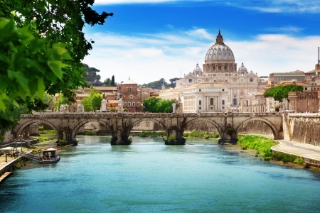 view on Tiber and St Peter Basilica in Vatican