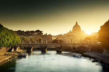 peter: view on Tiber and St Peter Basilica in Vatican