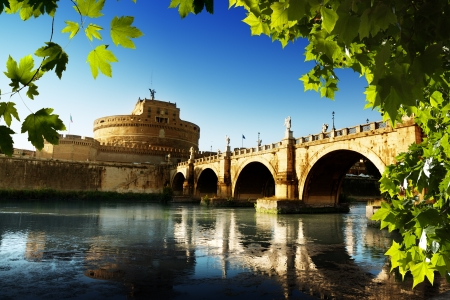 angelo: Saint Angel Fortress  and Tiber river in Rome, Italy