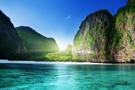 bay: morning time at  Maya bay, Phi Phi Leh island,Thailand