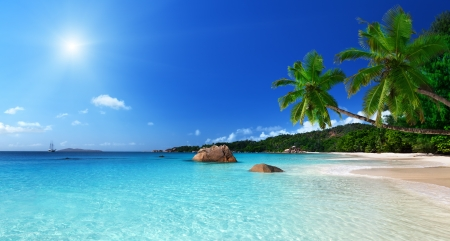 seychelles: Anse Lazio beach at Praslin island, Seychelles  Stock Photo