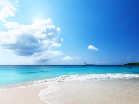 lazio: Anse Lazio beach at Praslin island, Seychelles  Stock Photo
