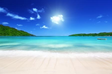 Strand bij Prtaslin eiland, Seychellen Stockfoto - 18226485