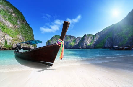 leh: morning time at  Maya bay, Phi Phi Leh island,Thailand