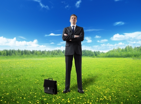 businessman on spring field photo