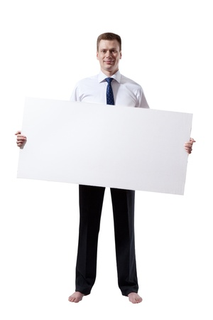 shoeless: business man with empty board in hand and shoeless