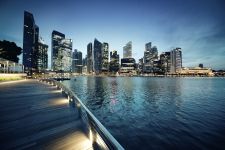 marina water: Singapore city in sunset time