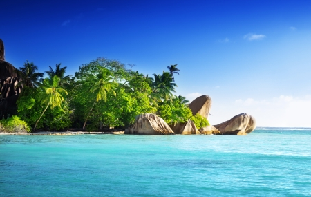 anse source d argent: sunset on the beach, Anse Source Stock Photo