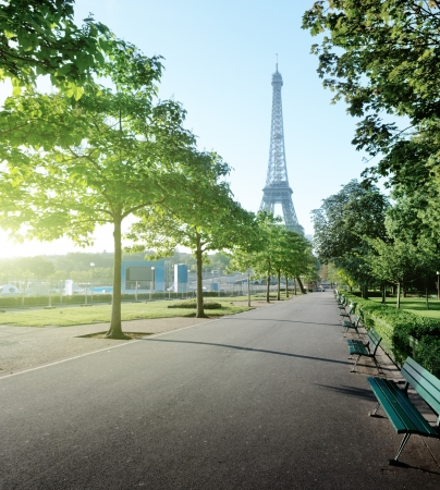 sunny morning and Eiffel Tower, Paris, France  Stock Photo - 19086579