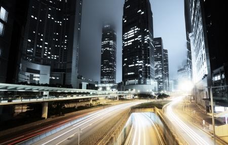 night traffic: traffic in Hong Kong at night