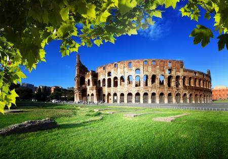 coucher du soleil et le Colisée à Rome, Italie Banque d'images