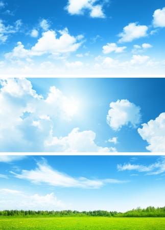 봄 잔디와 하늘의 필드의 배너