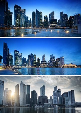 일몰 시간에 싱가포르 도시