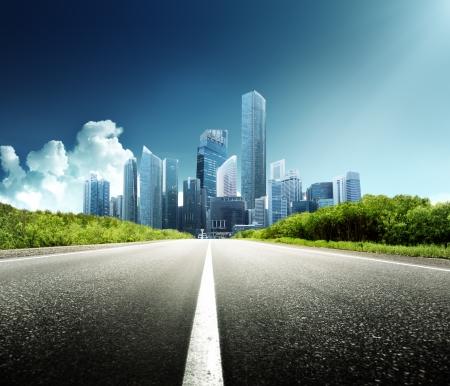 asphalt road: Asphalt road and modern city