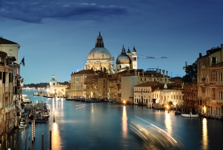 on the canal: Grand Canal and Basilica Santa Maria della Salute, Venice, Italy