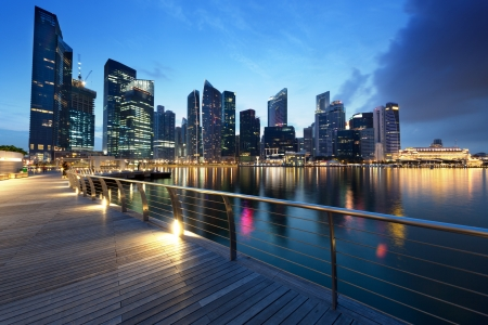 commercial district: Singapore city in sunset time