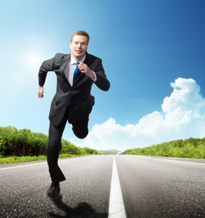 runing: business man run on the road