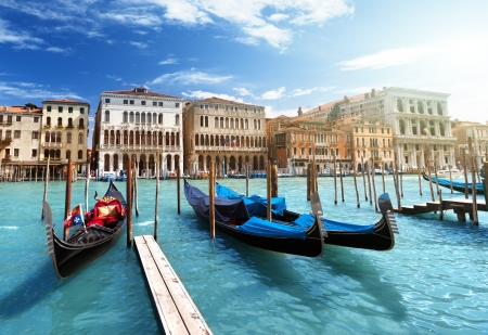 gondola: gondolas in Venice, Italy