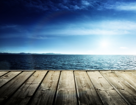 old pier: Caribbean sea and wooden platform Stock Photo