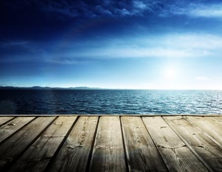 fishing pier: Caribbean sea and wooden platform Stock Photo
