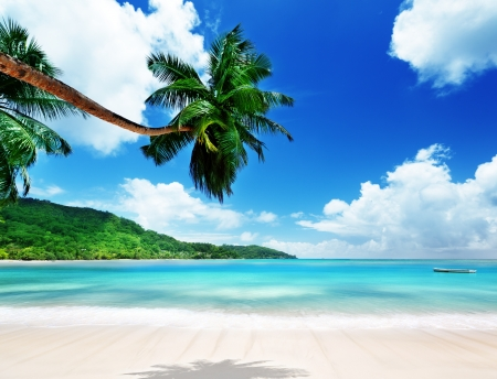 island: beach on Mahe island in Seychelles  Stock Photo