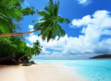 island paradise: beach on Mahe island in Seychelles  Stock Photo