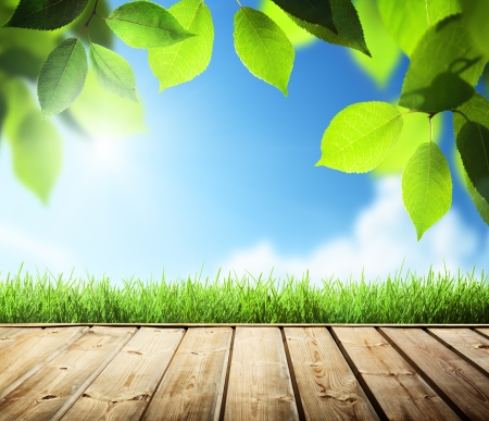木製の表面を持つ夏の背景