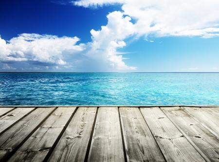 wooden dock: Caribbean sea and wooden platform Stock Photo