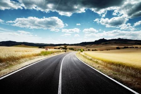 asphalt road in Tuscany Italy Stock Photo - 20430113