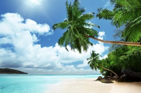 sandy: playa en la isla Mahe en las Seychelles Foto de archivo