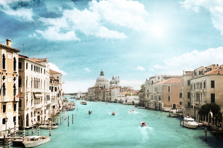 大運河、ヴェニス、イタリアのグランジ スタイル画像 写真素材