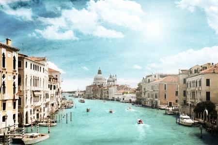 canal house: Immagine di stile grunge del Canal Grande, Venezia, Italia