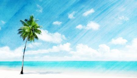 imagen de grunge de la acuarela de la playa