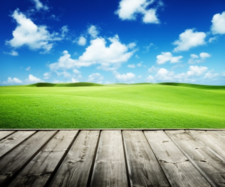 grass background: Green field and wood floor  Stock Photo