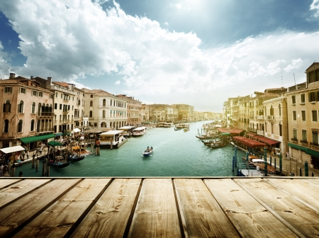 italian landscape: Venice, Italy and wooden surface