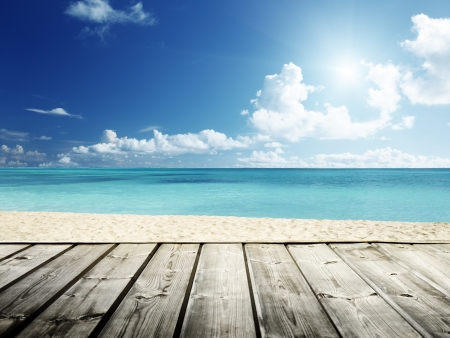 Caribbean sea and wooden platform photo