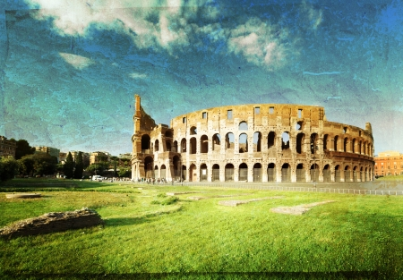 amphitheater: sunset and Colosseum in Rome, Italy