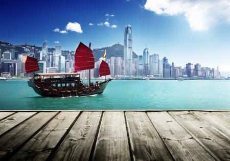 Пейзаж: Гавань Гонконга Редакционное